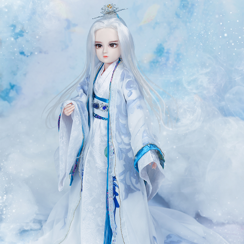 35CM Bjd 1/6 Jointed White Hair Boy Doll Handmade Chinese Ancient Costume Man Doll Boy Toys for Children Christmast Gift black and coffee 2 colors hair tiara ancient chinese emperor or prince costume hair crown piece cosplay use for kids little boy