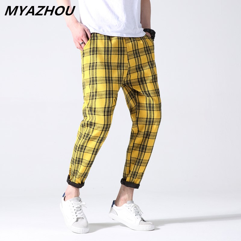 MYAZHOU plaid 2019 summer thin section large size trend loose feet harem pants men's