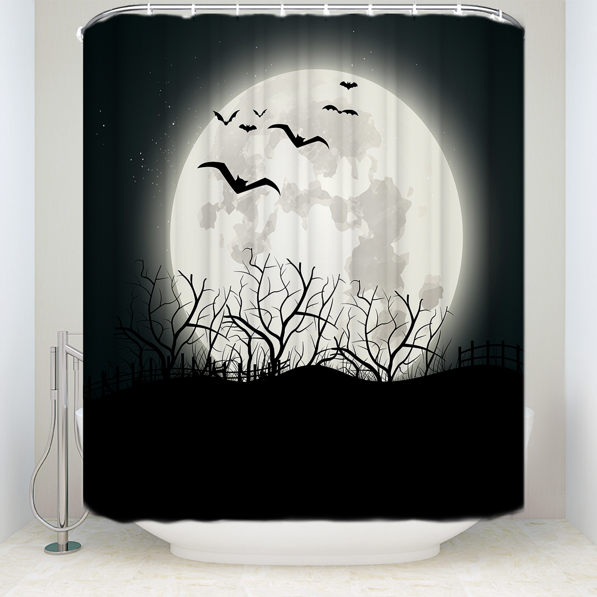 Custom Waterproof Bathroom Moon Bat Tree Branches Silhouettes Shower Curtain Polyester Black In Curtains From Home Garden On