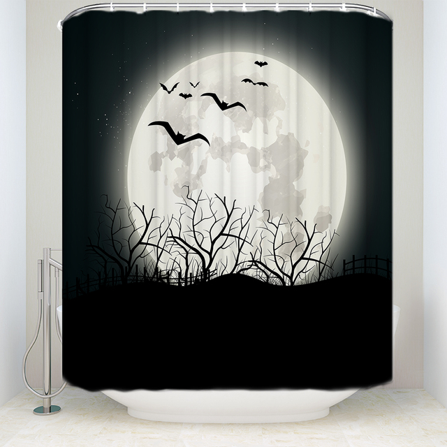 Custom Waterproof Bathroom Moon Bat Tree Branches Silhouettes Shower Curtain Polyester Black