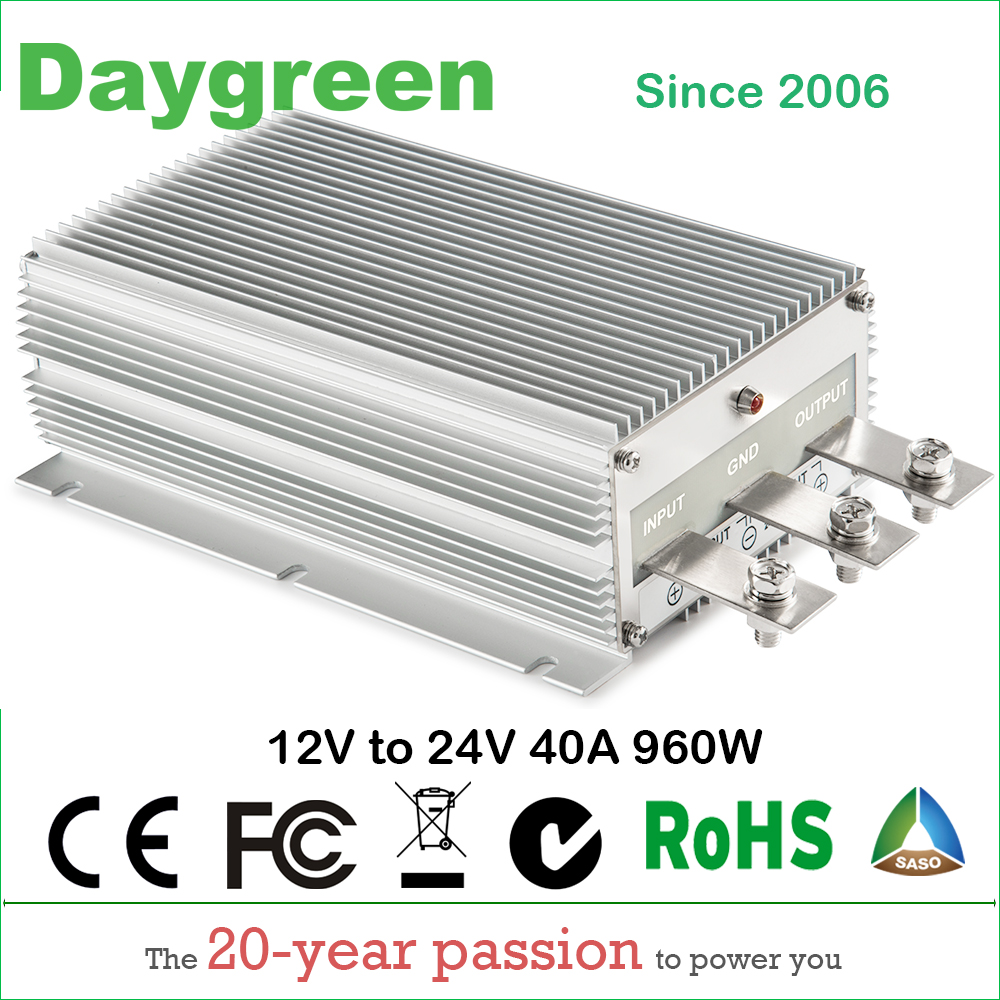 US $60 0 |12V TO 24V 40A STEP UP DC DC CONVERTER 40 AMP 1000Watt 12VDC TO  24VDC 40AMP Daygreen CE RoHS-in Inverters & Converters from Home  Improvement