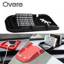 Overe 1Set Car Parking Card Anti-slip Mat Phone Stand styling For Mercedes W205 W203 Volvo XC90 S60 XC60 V40 Alfa Romeo 159 156