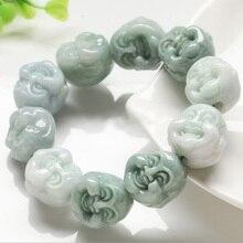 Natural Myanmar Emerald Buddha Head Bracelets Drop Shipping Luck Amulet Jade Stone Bracelets For Men And Women Gift цена и фото