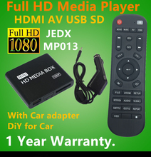 Full HD 1080 P Reproductor Multimedia Del Coche de HDMI, salida AV, SD/MMC lector de Tarjetas/USB Host, adaptador de Coche gratis Gift & Free shipping!