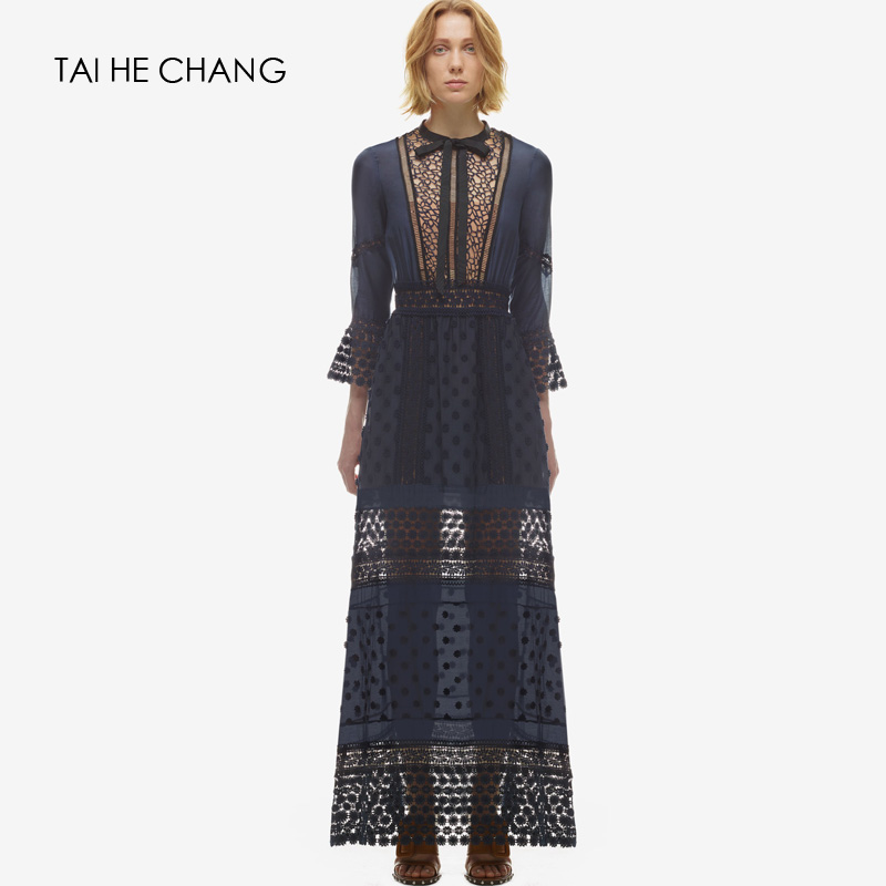 High-end custom women dress style blue lace long sleeve sexy party summer maxi  fashion runway vintage dress