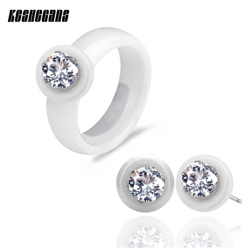 Classic Jewelry Set Black White Ceramic Stud Earrings & Rings With Big Carat AAA Rhinestone For Women Round Zirconia Earrings
