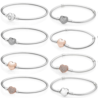 Authentic 925 Sterling Silver Rose Gold Love Bracelet Clear CZ Charm Bead Fit Pendant Bangle DIY