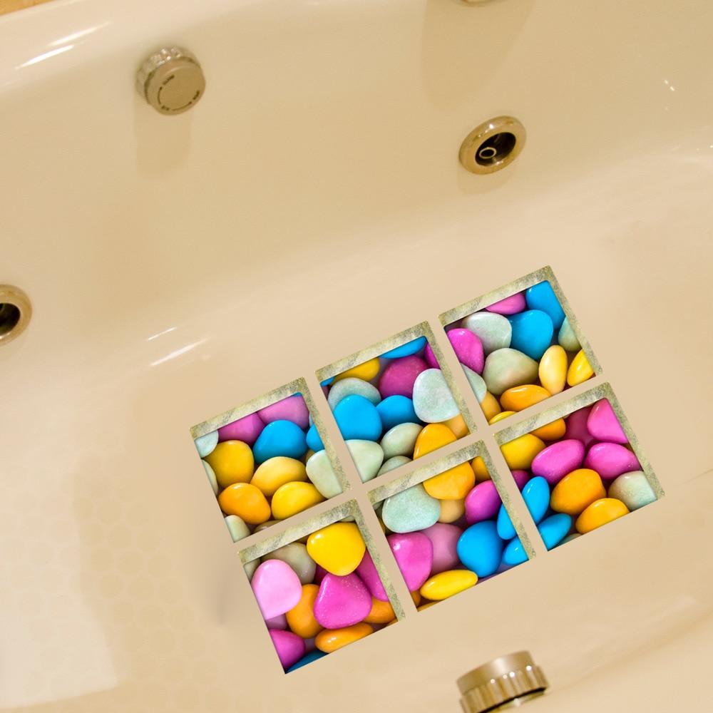 Funlife 3D Anti Slip Waterproof PVC Bathtub Sticker Decor Color ...