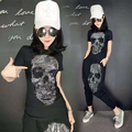 2016 women clothing set skull blingbling leisure suit women 2 piece set designer brand top shirt+harem pant tracksuit sportswear