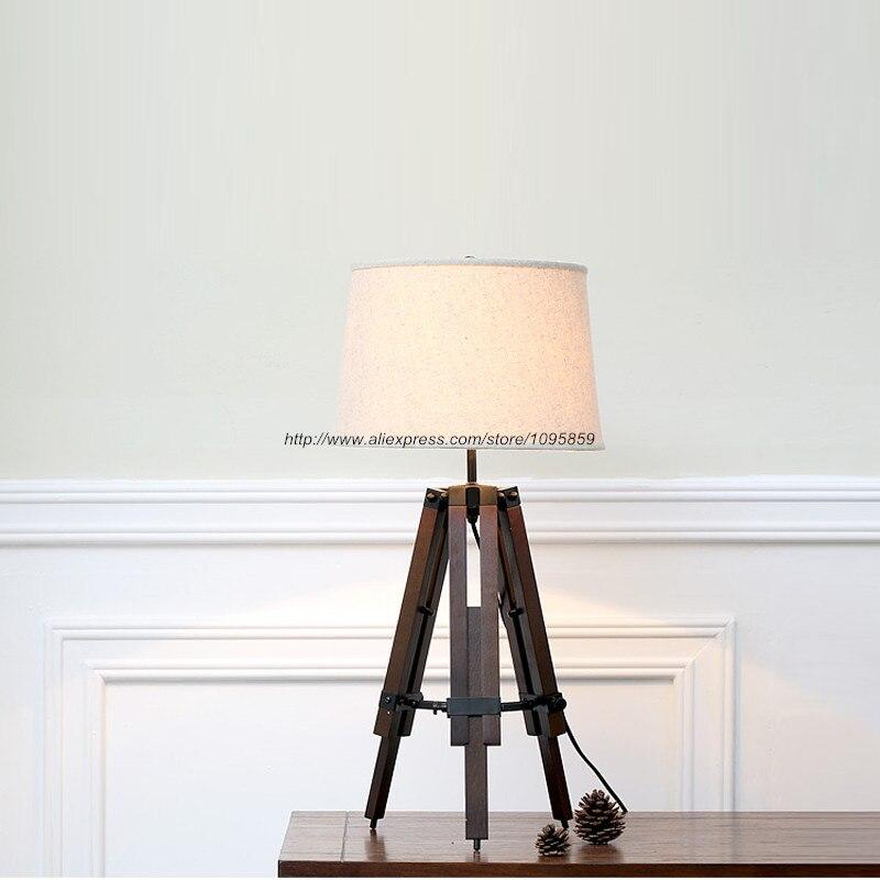 Modern Tripod Adjule Wooden Table Lamp Bedroom Dining Room Wood