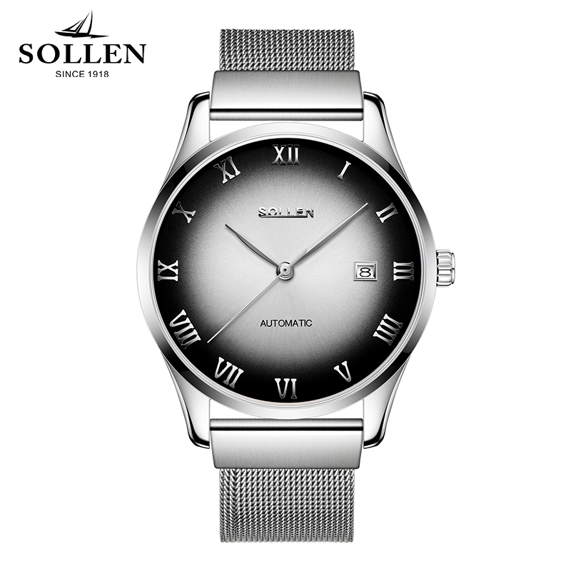 Luxury Brand SOLLEN Men's Business Watch Automatic Machinery Stainless steel Milanian wristband Successful man watches Male New luxury brand sollen men s business watch automatic machinery stainless steel milanian wristband successful man watches male new