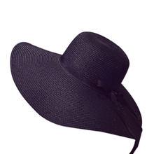 2018 mujeres del verano sombrero de paja plegable de ala ancha cinta arco  mar playa viajar sol sombreros para las señoras atract. 3410b04b5c83