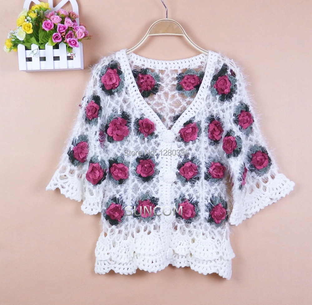 Nueva venta caliente Moda hecha a mano Rose Hollow Out Quarter Sleeve Women Sweater Tejido a mano Crochet Cardigan Sweater blanco 8588
