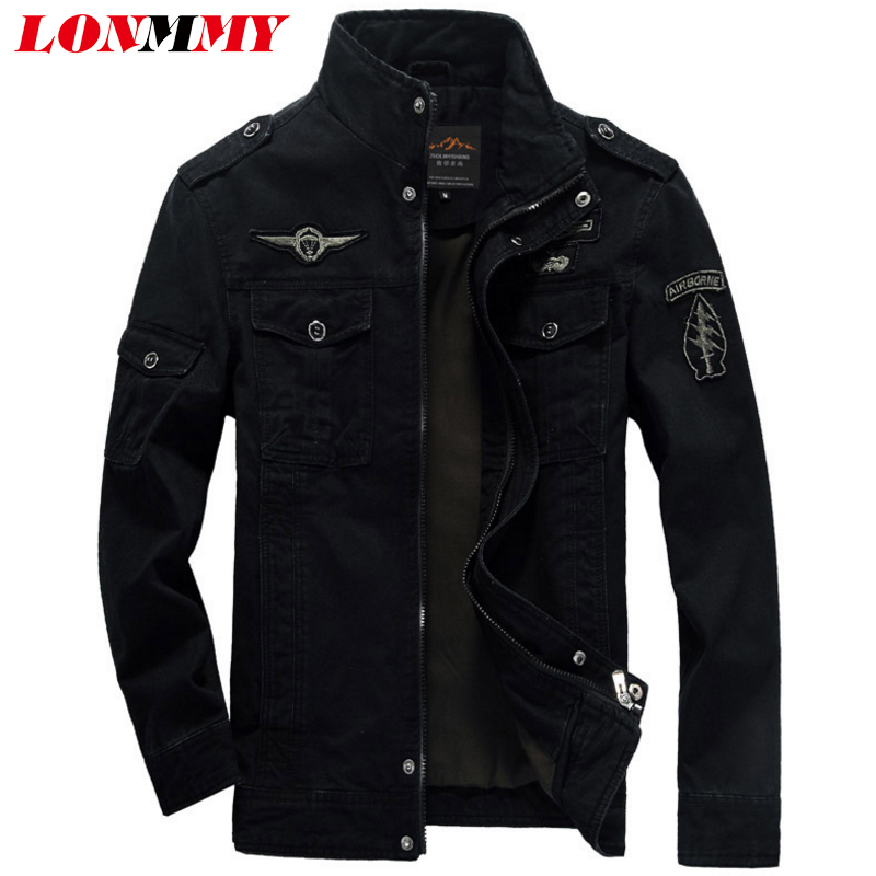 LONMMY M-6XL Mens bomber jaket mantel pria jaket militer Angkatan - Pakaian Pria