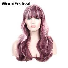 WoodFestival женские теплостойкие длинные волнистые волосы бордовый микс розовый парик косплей