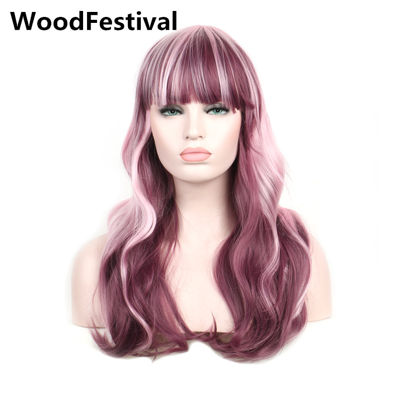 WoodFestival womens heat resistant long wavy hair burgundy mix pink wig cosplay women synthetic wigs with bangs