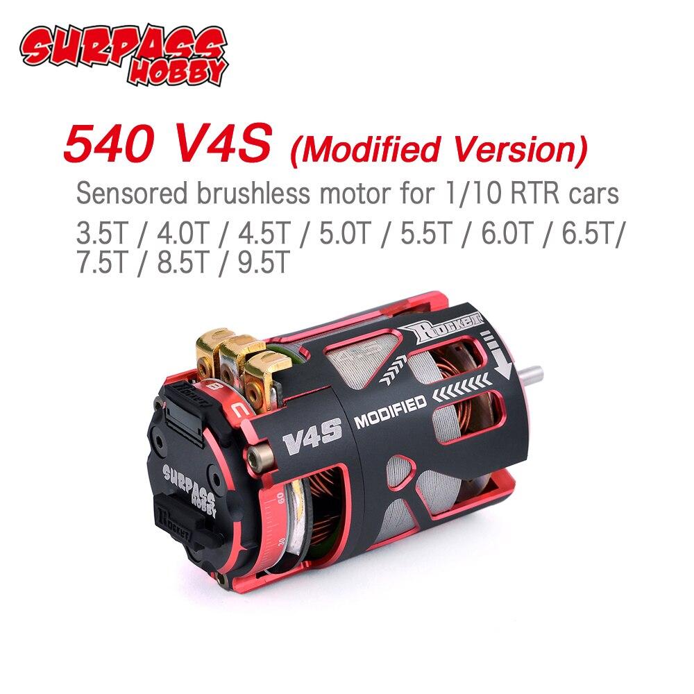 Foguete 540 V4S SURPASSHOBBY 3.5T 4.5T 5.5T 6.5T 7.5T 8.5T 9.5T Sensored Brushless motor para a Modificação da Concorrência 1/10 1/12 F1 RC