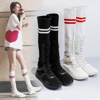 women boots fashion mid calf boots platform sock boots rubbe 39 shoes woman white casual long sexy stretch thigh high shoes