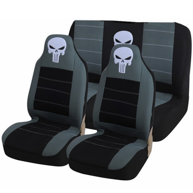 New Full Car Seat Cover Universal Accessories Protector Embroidery Skull Cool Styling For Kia Soul Rio