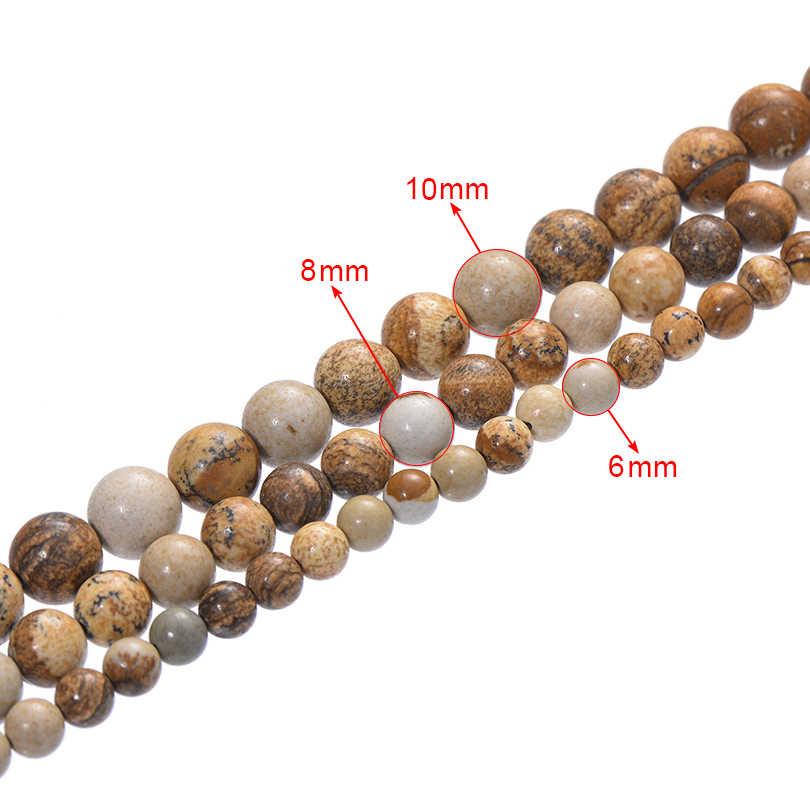 6 8 10 ミリメートルホワイトベージュカーキ蛇天然石ビーズスムースルースラウンドビーズジュエリーメイキングのためにブレスレットネックレスクラフト