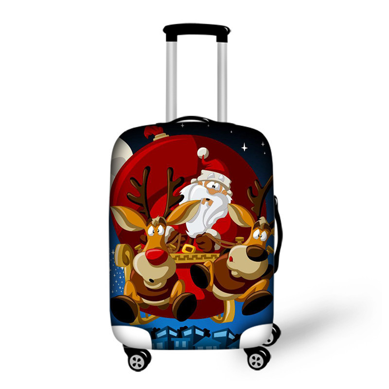 FORUDESIGNS Luggage Cover Santa Claus Costume Thick Elastic Travel Luggage Protective Cover Waterproof Rain Cover Christmas Gift