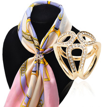 Fashion 2016 New Gold Silver Color  Flowers Scarf Buckle Wedding Brooch Christmas Pins Crystal Holder Silk Scarf Jewelry