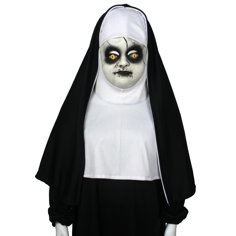 Children's Nun Mask Cosplay Valak Costume Accessory Cute Child Latex Half Face Masks Helemet Halloween Party Props Dropshipping1