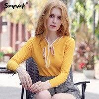 SIMPVALE Bow Tie V Neck High Elastic Sweater Women Rib Sleeve Ribbed Hem Knit Pullovers Female