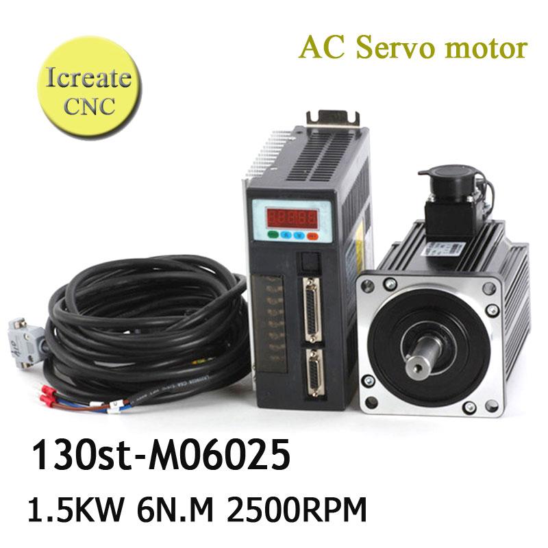 все цены на Free Shipping 1.5KW servo system servo motor + servo motor 130ST-M06025 ac servo motor 6N.M онлайн