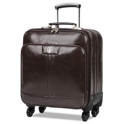 מגניב ביותר עור PU העסקי גברים נסיעות מזוודת גלגלים אוניברסליים תיק נסיעות RZ-48