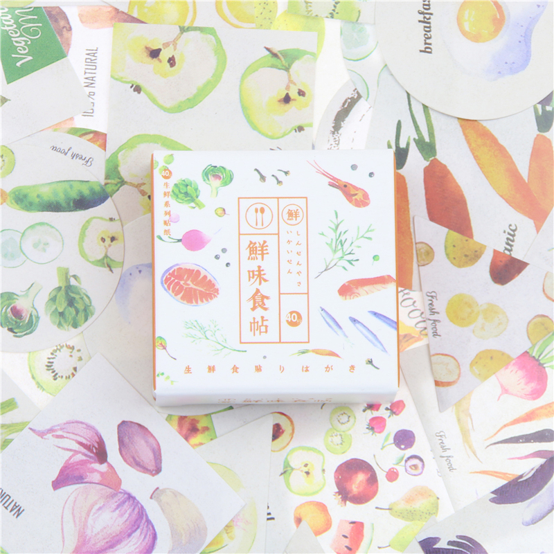 40 Pcs pack Fresh Vegetable Meat Fish Fruit Food Illustration Decoration Stickers Diy Diary Scrapbooking Label