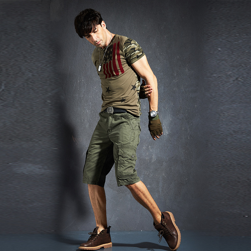 Multi-pocket Mens Thin Straight Cotton Cargo Shorts Summer Sports Riding Camping Climbing Breathable Tactical Short Trousers