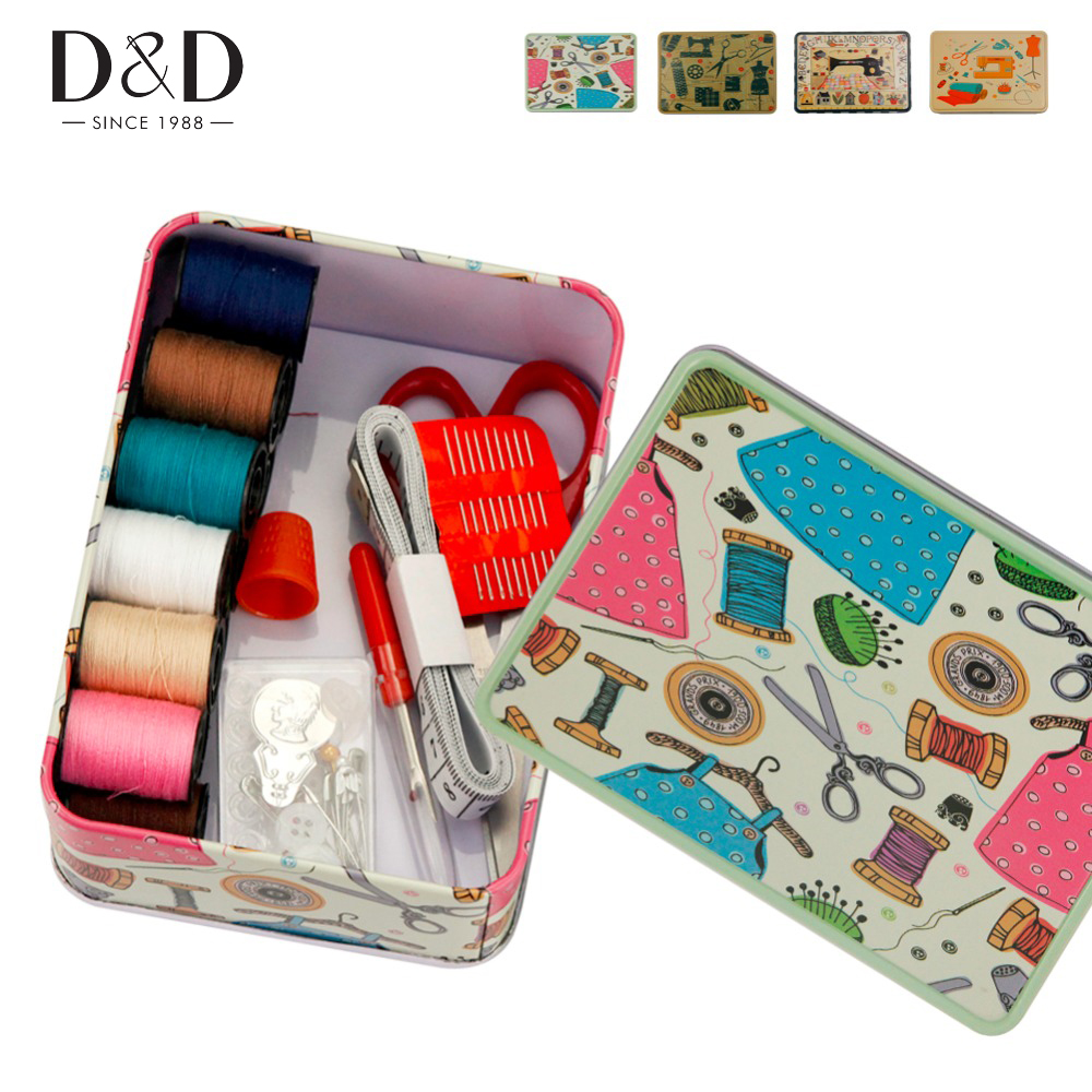 D&D High-Quality Metal Sewing Kits with 52pcs Sewing Tools Accessory for Home&Travelling 13.7*9.6*4.8cm