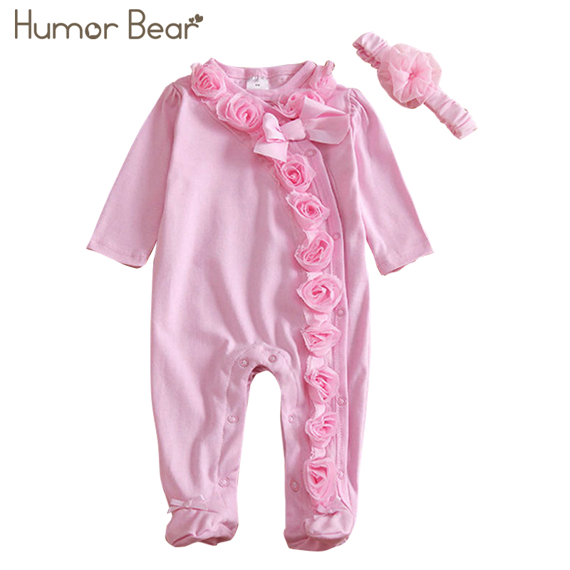 Humor Bear NEW Newborn Baby Girl Clothes Bow/Flowers Romper Clothing Set Jumpsuit & Headband 2 PC Cute Infant Cirls Rompers new baby girl clothing sets lace tutu romper dress jumpersuit headband 2pcs set bebes infant 1st birthday superman costumes 0 2t