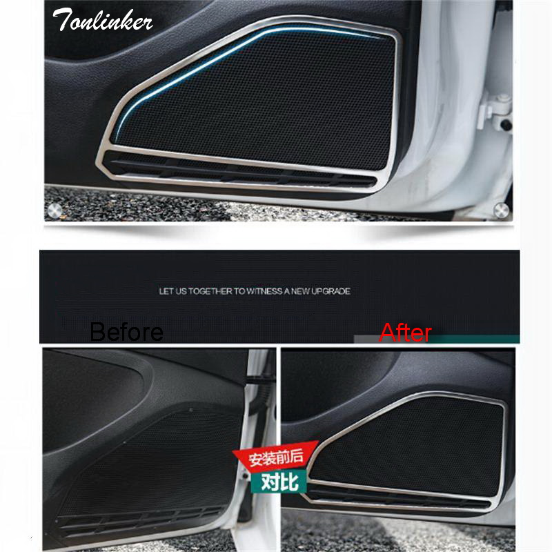 Tonlinker 4 PCS car styling Stainless Steel door speaker decorative light box cover case <font><b>Stickers</b></font> for <font><b>VW</b></font> NEW <font><b>GOLF</b></font> <font><b>7</b></font> accessories image
