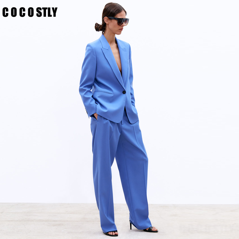 Fashion Blue Women Suits One Button Notched Office Lady Business Suits Formal Office Uniform Jacket+Pants 2 Pieces Set