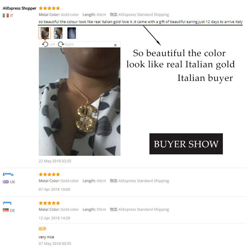 Kindlegem Wholesale Pure Gold Color Dollar Shape Necklace Pendant Chain For  Women African Dubai Jewelry Italy High Quality