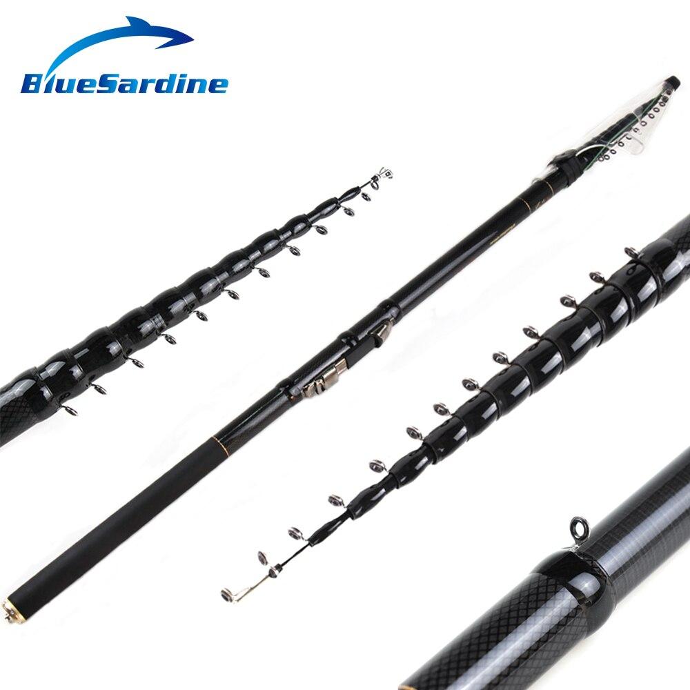 Bluesardina nuevo diseño caña de pescar telescópica mano de fibra de carbono de fundición ligera tenacidad Spinning varillas