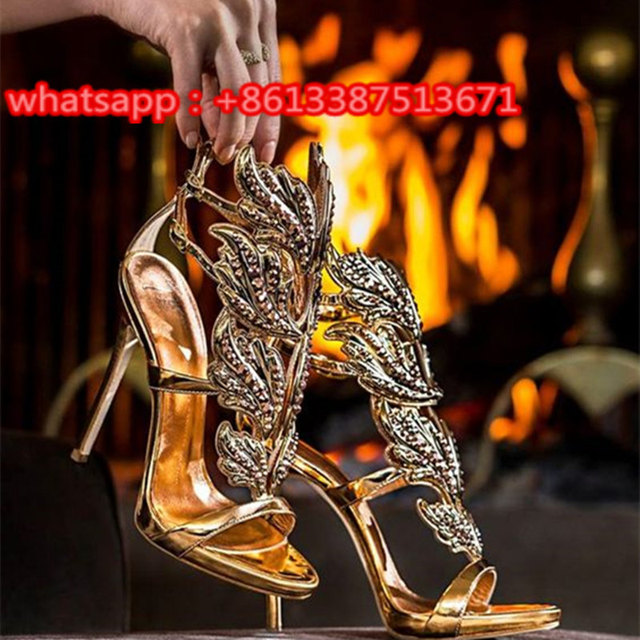 Hot Summer Shoes Crystal-Embellished Metallic Leather Wing Pumpss Open Toe  Strappy Cage Gold Leaf High Heels Women Shoes Woman c77e1aa9fa27