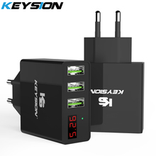 KEYSION LED Digital 3 Ports USB Charger Universal Wall Mobile Phone For One plus 7 Xiaomi Mi 9T Pro Power Adapter