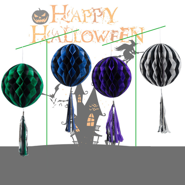Individuality Halloween Honeycomb Paper Flower Ball Tassel Halloween Lantern Mall Hotel Home Kindergarten Halloween Decoration