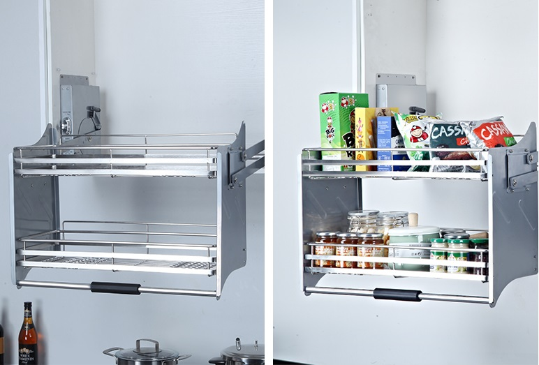 Kitchen Hanging Cabinet Lifting Basket Stainless Steel 304 Double Layer Damping Drop Basket Kitchen Cabinet Parts Accessories Aliexpress