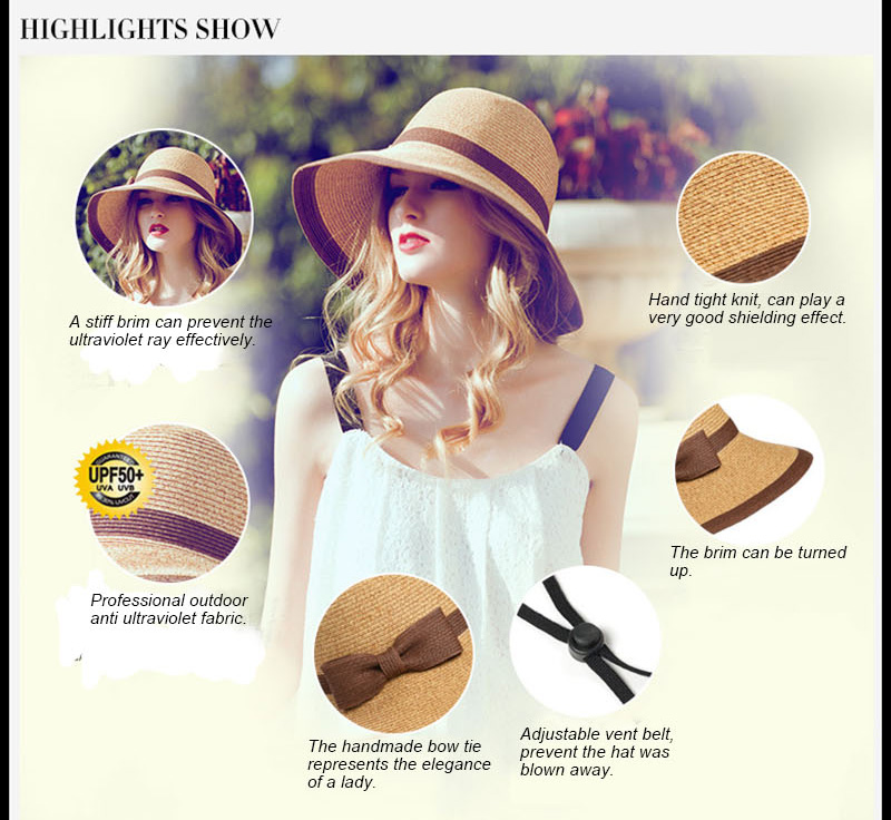 12f6ced9356 Womens Sun Hat Big Bow Wide Brim Floppy Summer Hats For Beach Panama Straw  Bucket Protection Visor Femme Cap Weave foldable