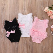 Niemowlę dziewczynki body bez rękawów ubranka dla dzieci letnie ubrania dla noworodków Kawaii strój niemowlę z krótkim rękawem tatuś śliczny prezent nowość tanie tanio COTTON Moda Bodysuits List O-neck Dziecko dziewczyny Pasuje prawda na wymiar weź swój normalny rozmiar Pink Black White