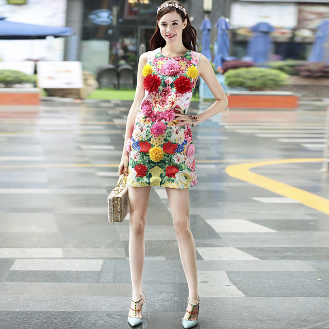 Flowers collar waist vest dresses
