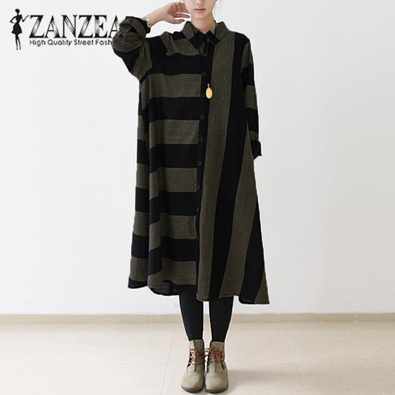 2017 Autumn ZANZEA Women Casual Loose Striped Long Shirt Dress Turn Down Collar Buttons Long Sleeve