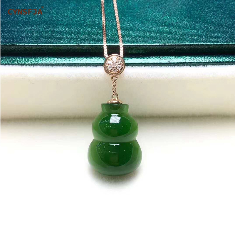 Certified Natural Hetian Jade Jasper Inlaid 18K Gold Lucky Gourd Jade Pendant High Quality Hand Carved S925 Necklace Best Gifts in Charms from Jewelry Accessories