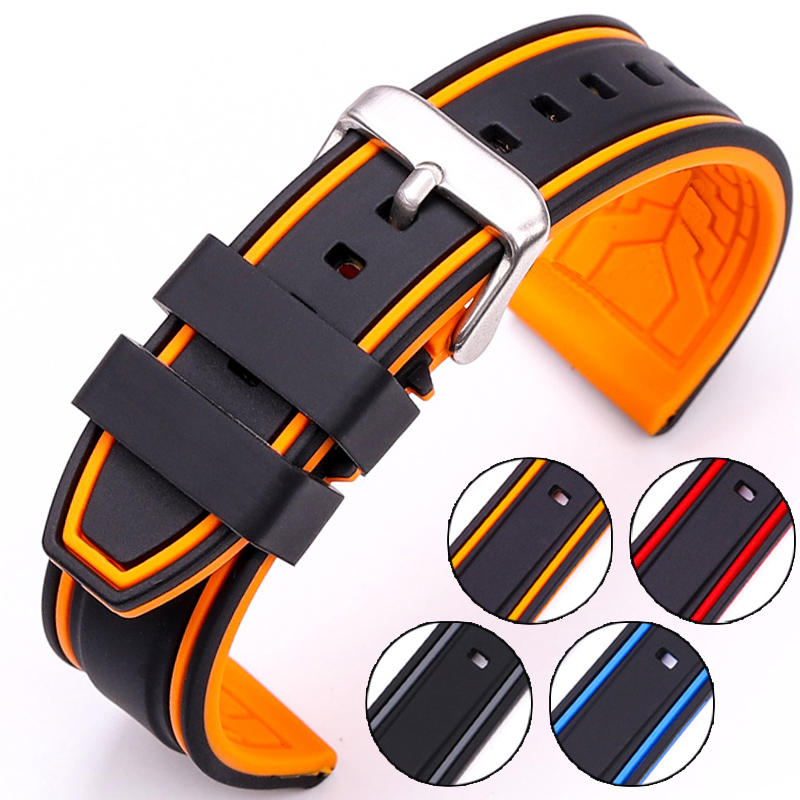 HENGRC Soft Silicone Watch Band Strap 20mm 22mm 24mm 26mm Fashion Women Men Color Matching Watchbands Rubber Bracelet