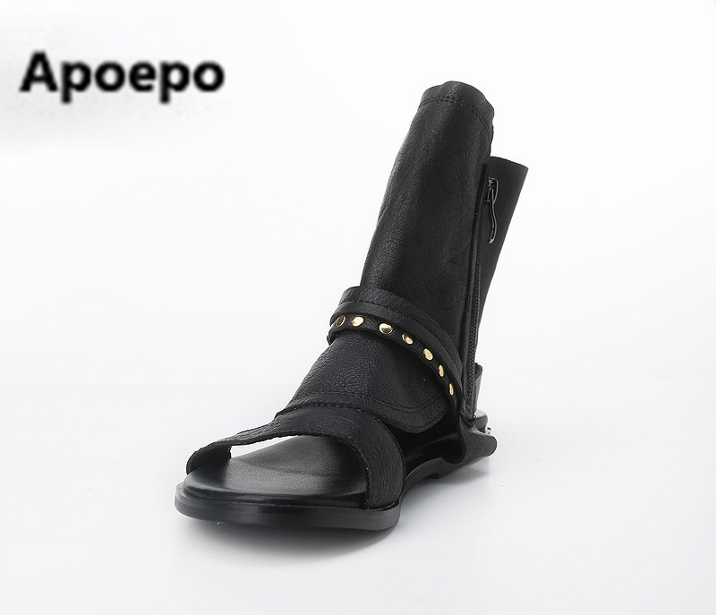 real picture black summer riding boots cool flat women sandals rivet casual ladies shoes zip summer ankle boots sandalias mujer casual style rivet flat top cap hat for women black