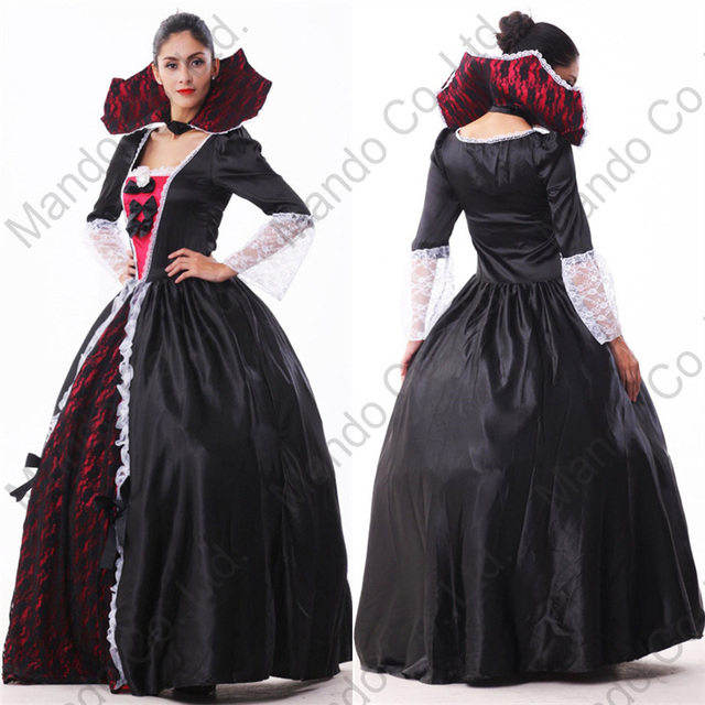 Carnival zombie cosplay dresses Adult Womens Fancy Dress Gothic vampire  queen Cosplay Costume Halloween Outfit 47a1be9fc0